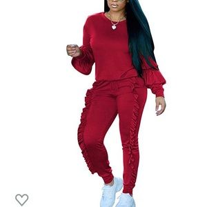 Pants - Women's Ruffle 2 Piece Pants Suit Red